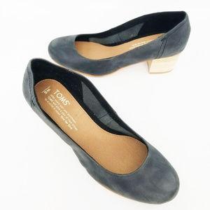 Toms Womens Beverly Black Block Heels Slip On
